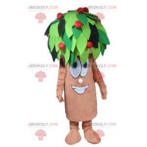 Green and red brown cherry tree mascot - Redbrokoly.com