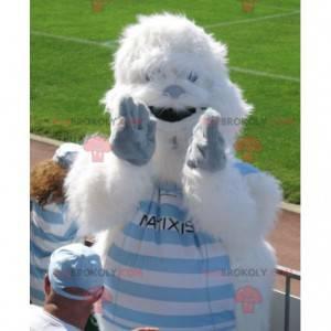 White and blue yeti mascot all hairy - Redbrokoly.com