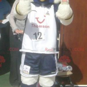 White duck bird mascot in sportswear - Redbrokoly.com