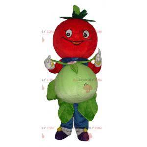 Usmíval se červený rajče maskot s květákem - Redbrokoly.com