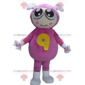 Mädchenmaskottchen mit einem rosa Overall mit 2 Ohren -