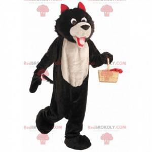 Měkký a chlupatý černobílý a červený vlk maskot - Redbrokoly.com