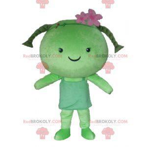 Mädchenmaskottchen mit riesigen grünen Puppengeflechten -