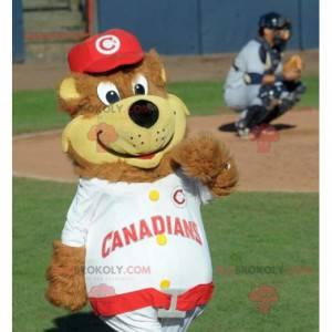 Big brown and yellow teddy mascot in sportswear - Redbrokoly.com