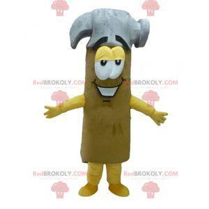 Obří šedé a hnědé žluté kladivo maskot - Redbrokoly.com