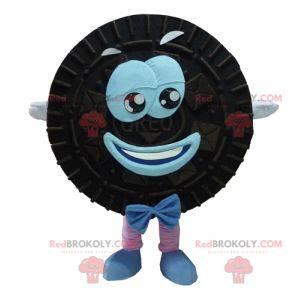 Maskot Oreo černý a modrý dort kulatý a usměvavý -