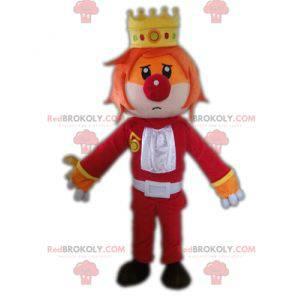Mascotte van de koning met een kroon en een clownneus -