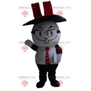 Maskot černobílý králík s cylindrem - Redbrokoly.com