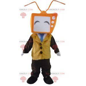 Maskotka mężczyzna z głową w postaci telewizji - Redbrokoly.com