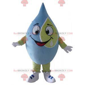 Bardzo uśmiechnięta gigantyczna niebiesko-zielona maskotka