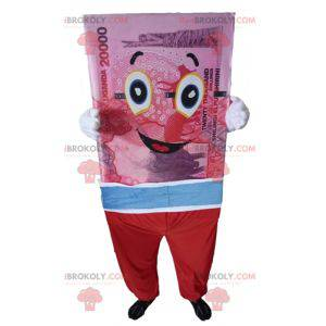 Mascot giant banknote pink blue and red - Redbrokoly.com