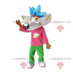 Obří vlk maskot s velkou hlavou - Redbrokoly.com