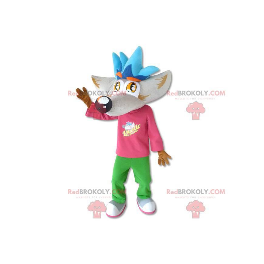 Giant wolf mascot with a big head - Redbrokoly.com