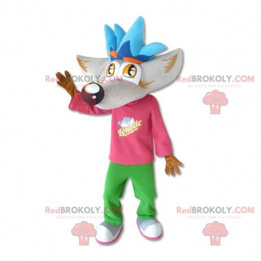 Riesenwolfmaskottchen mit großem Kopf - Redbrokoly.com