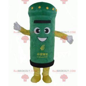 Velmi usměvavý maskot zelené a žluté poštovní schránky -