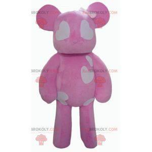Růžový a bílý medvídek maskot se srdíčky - Redbrokoly.com