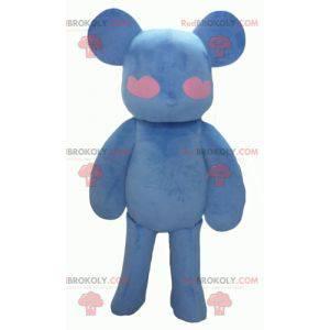 Blaues und rosa Teddybärmaskottchen mit Herzen - Redbrokoly.com