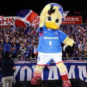 Maskot obří žluté kachny ve sportovním oblečení - Redbrokoly.com