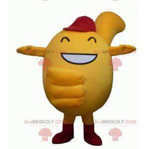 Kulatý a roztomilý žlutý sněhulák maskot - Redbrokoly.com
