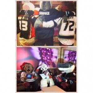 3 Maskottchen ein Löwe, eine weiße Ente und ein grauer Hai -