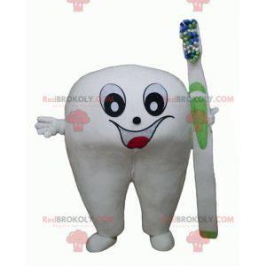 Kjempehvit maskot med en tannbørste - Redbrokoly.com
