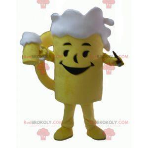 Obří žluté a bílé pivní sklo maskot - Redbrokoly.com