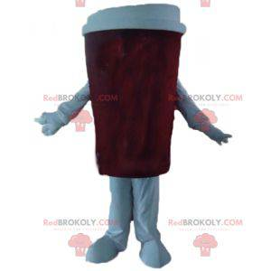 Red and white coffee cup mascot - Redbrokoly.com