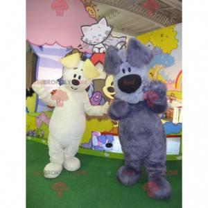 2 psí maskoti, jeden bílý, druhý šedý a modrý - Redbrokoly.com