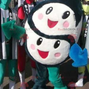 Černobílý maskot se 2 roztomilými a veselými tvářemi -