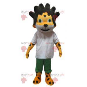 Yellow and white lion cub mascot with black hair -