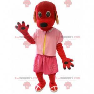 Red dog mascot dressed in pink - Redbrokoly.com