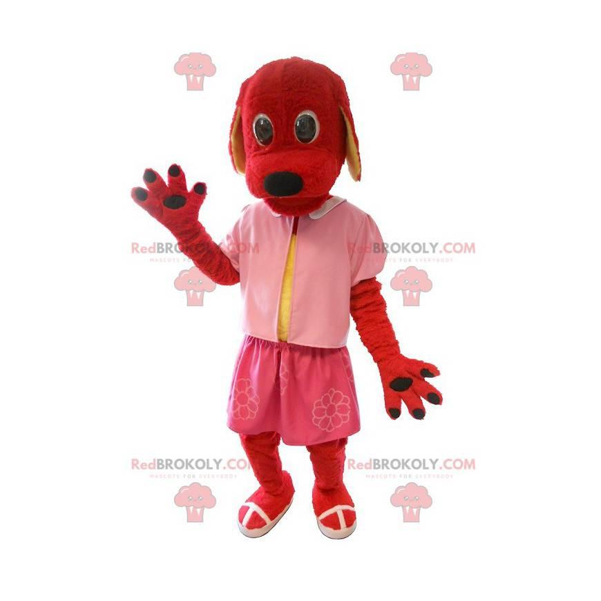 Rød hundemaskot kledd i rosa - Redbrokoly.com