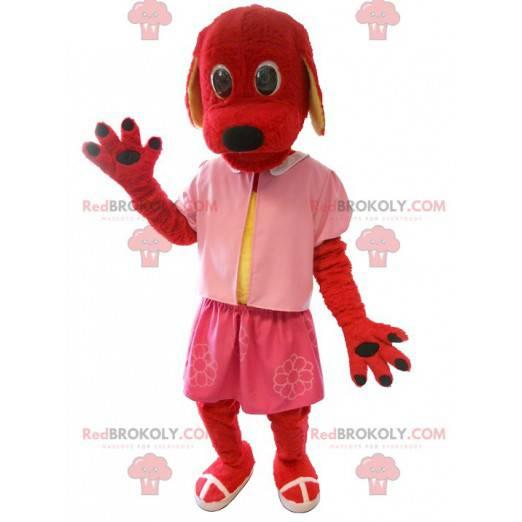 Maskot červený pes oblečený v růžové barvě - Redbrokoly.com
