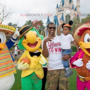 3 Disney Donald Duck mascots and 2 colorful birds -