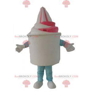 Maskot na zmrzlinu bílá a růžová zmrzlina - Redbrokoly.com
