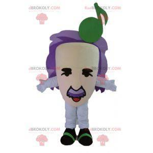 Maskot obří hlavy hudebník s fialovými vlasy - Redbrokoly.com
