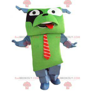 Giant and funny green and gray dog mascot with a tie -
