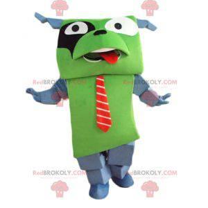 Obří a zábavný zelený a šedý pes maskot s kravatou -