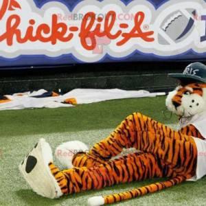 Schwarz-Weiß-Orange-Tiger-Maskottchen mit Dreadlocks -