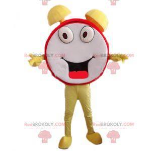 Mascote despertador vermelho amarelo e branco engraçado e