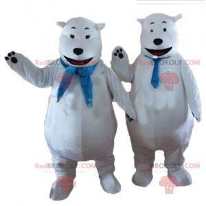 2 maskotki misia polarnego z niebieskim szalikiem -