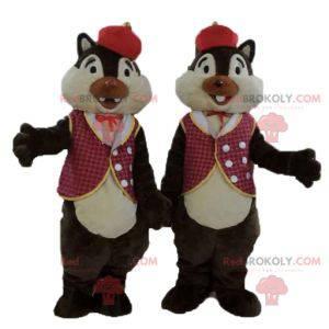 2 maskoti veverek Tic et Tac v tradičním oblečení -