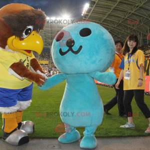 2 mascots a big brown bird and a blue man - Redbrokoly.com