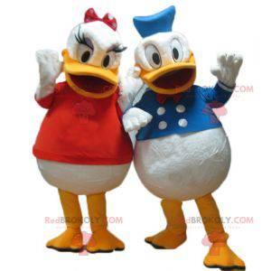 2 maskoter av Daisy og Donald berømte Disney-par -