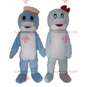 2 mascots of blue and white fish dolphins - Redbrokoly.com