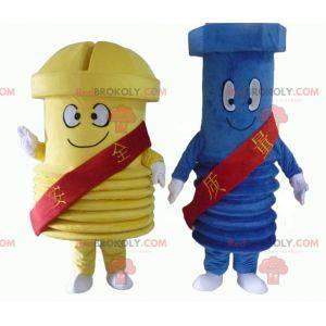 2 gigantyczne maskotki śrubowe, jedna niebieska i jedna żółta -