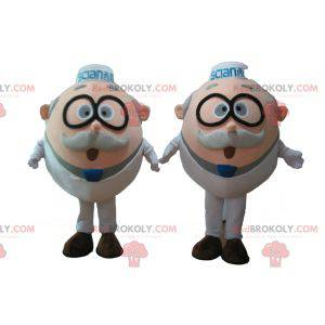 2 mascots of old men of scientists with glasses - Redbrokoly.com