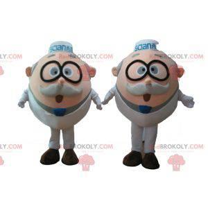 2 maskoter av gamle menn av forskere med briller -
