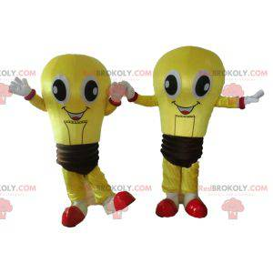 2 mascots of yellow and brown bulbs very smiling -