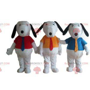 3 berømte hvide tegneserie snoopy hundemaskotter -